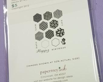 Papertrey Ink Happy Hexagons Mini Stamp Set Happy Birthday