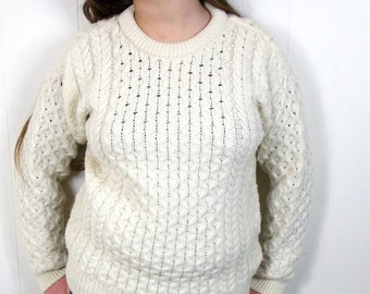428836b146d Vintage Blarney Woolen Mills 100% Wool Cableknit SweaterFisherman Sweater S