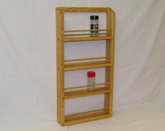 Oak Wooden 4-shelf Classic Spice Rack