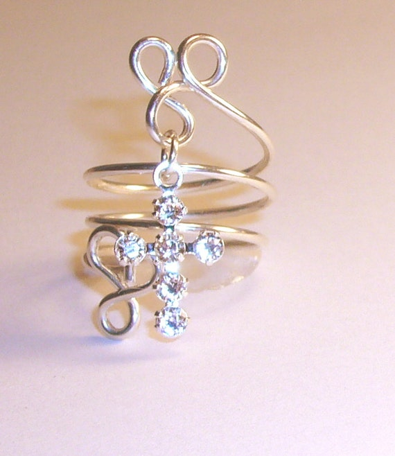8243b2513 Swarovski Cross Ring, Clear Crystal on Silver Plated Brass, Sterling Silver  Band