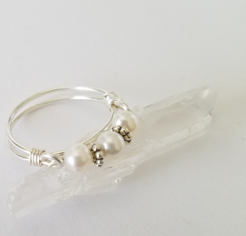 Pearl Band Purity Ringwith Inspirational Card Sterling image 0