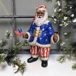 African American Patriotic Santa Figurine,