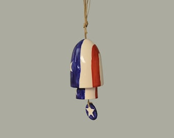 Ceramic Small Stack Wind Bell Wind Chime - Patriotic Red White Blue - Americana