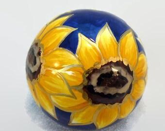 Ceramic Sunflower Paperweight – Sunflower Desk Accessory – Ceramic Paperweight