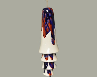 Ceramic Cone Bell Wind Chime - Red Blue White Wind Bell
