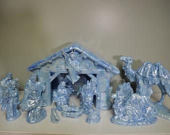 Blue Mother of Pearl Ceramic Nativity Scene