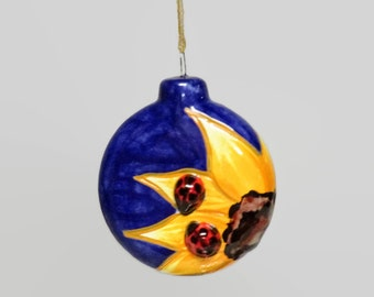 Sunflower Lady Bug  Ornament, Sunflower Lady Bug Christmas Ornament