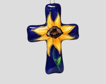 Ceramic Sunflower Cross Ornament