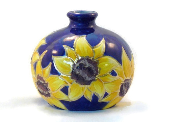 Ceramic Sunflower Vase Sunflower Weedpot Vase Cobalt Blue Etsy