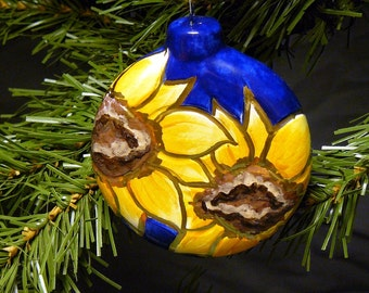 Ceramic Christmas Ornament - Sunflower Ornament