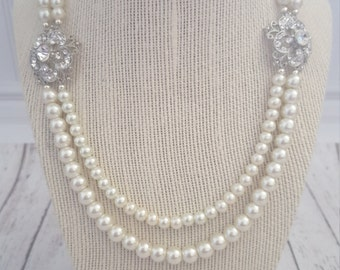 Vintage Inspired ivory pearl and rhinestone bridal statement necklace, can be customized, Purchase 3 or more get 10% off