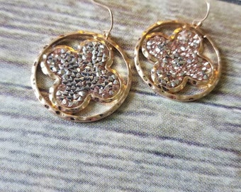 Crystal Druzy Quatrefoil Drop Earrings, Gold Tone, one available, perfect gift