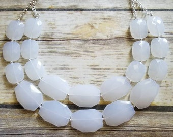 FREE MATCHING EARRINGS, Opaque White Chunky Statement Bib Necklace