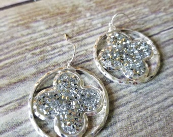 Crystal Druzy Quatrefoil Drop Earrings, Silver Tone, one available, perfect gift