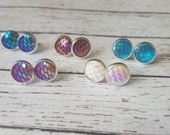 Mermaid Scale Tail Iridescent  Stud Earrings in your choice of colors