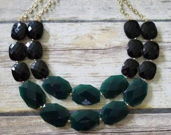 FREE MATCHING EARRINGS Black and Evergreen Chunky Statement Necklace