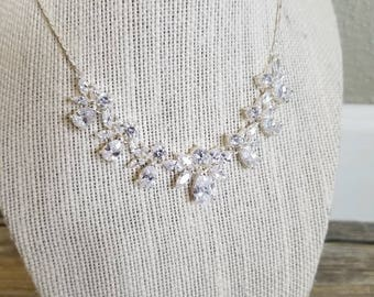 Cubic Zirconia Bridal Necklace, comes with matching earrings, only one available