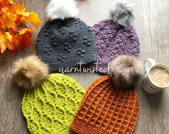 Fall / Winter Hat Crocheted Faux Fur Pom Pom Beanies - 4 hats, Bundle and save