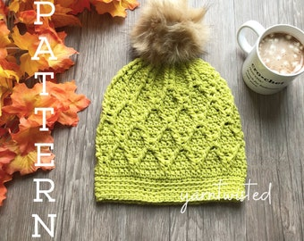 The Citron Beanie - CROCHET PATTERN PDF, Instant digital download, Winter women's crochet beanie, faux fur pom pom hat, crochet diy