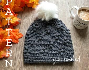 The Eva Beanie- CROCHET PATTERN PDF, Instant digital download, Winter women's crochet beanie, faux fur pom pom hat, crochet diy, Grey hat