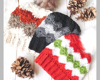 Crochet Pattern Bundle: Bulky, Worsted, and DK weight Catherine Wheel Pom Pom Beanie, Pdf INSTANT DOWNLOAD, Women's Winter hat, Teen hat