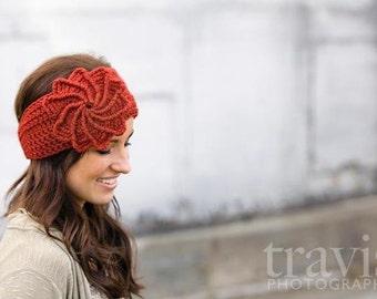 CROCHET PATTERN PDF, Instant Digital Download, Crocheted spiral flower headband / earwarmer / headwrap- CaN Sell Finished pieces