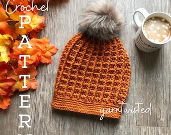 The Pumpkin Spice Beanie - CROCHET PATTERN PDF, Instant digital download, Winter women's crochet beanie, faux fur pom pom hat, crochet diy