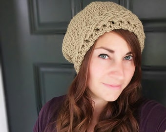 CROCHET PATTERN PDF - Braided Cable Crocheted Slouchy Hat - women's slouchy beanie, teen fashion, instant download - Can Sell Items