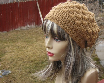 CROCHET PATTERN PDF - Instant Digital Download - Cinnamon Bobbled Crochet Slouchy Hat CaN sell finished pieces