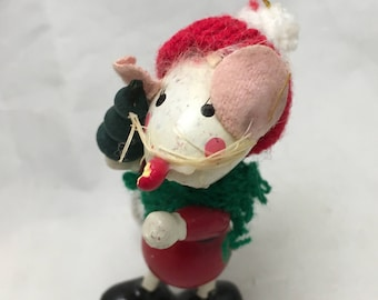 Wooden Christmas Mouse Tree Ornament