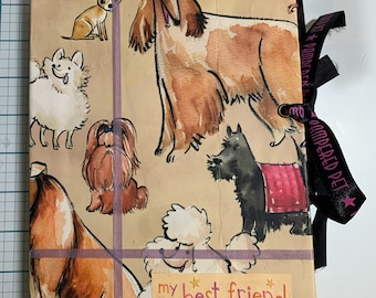 Dog Lover Junk Journal Made with Brown Paper Bags