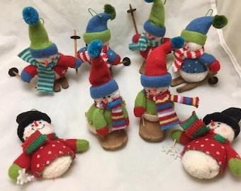Vintage Skiing Snowmen Christmas Ornaments - Lot 10 Snowmen