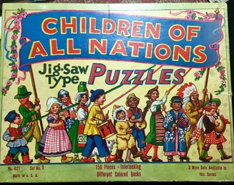 Children of All nations Vintage Puzzle -Native Americans, France, Holland
