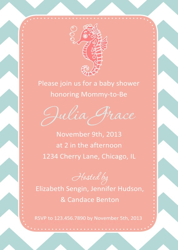 seahorse baby shower invitation you print 4x6 or 5x7 etsy