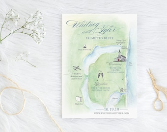 Custom Watercolor Painted Wedding Map - Bluffton, South Carolina - Palmetto Bluff Waterside Chapel - Customizable Locations, Fonts, Colors