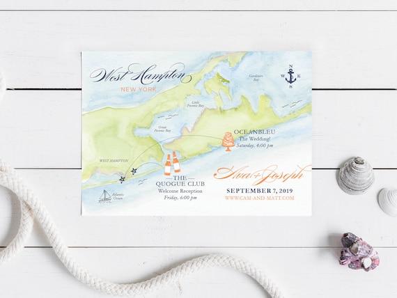Hamptons New York Map.Custom Watercolor Painted Wedding Map West Hampton New York Etsy