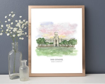 The Citadel - The Military College of South Carolina - Charleston, SC - Watercolor Painting - College Painting - Military college