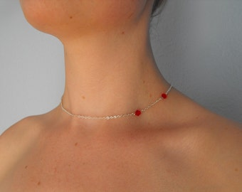 Vampire Bite Silver and Red Swarovski Crystal Necklace