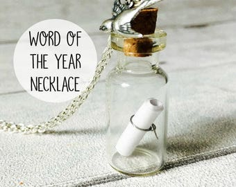 Word of the Year Personalized Jewelry Message in a Bottle Necklace Custom Message Silver Chain Womens accessory mom gift girlfriend present
