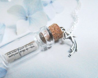 Twinkle Little Star/ Message in a Bottle Necklace/ Custom Jewelry/ Personalized/ Silver Charm/ Inexpensive Gift/ Poetry Jewelry/ Quotes
