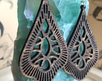 Filigree Mandala Earrings / Wood Earrings / Bridesmaid Earrings / Intricate Earrings / Lightweight from Wood / Hypoallergenic /