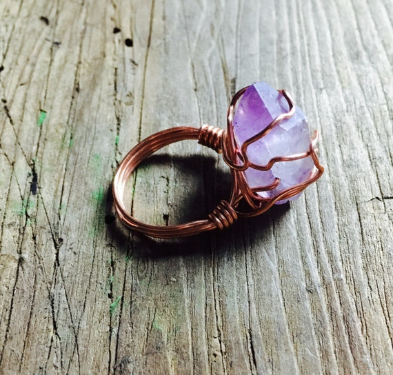 Wire Wrapped Ring Amethyst Crystal