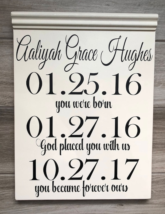 Personalized Baby Adoption Gotcha Day Birthday custom handmade wood sign nursery decor