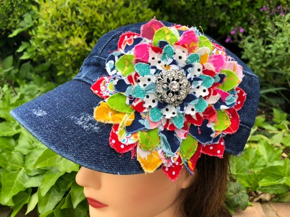 Multi-colored Fabric flower hat