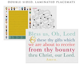 Godchild easter gift etsy prayer placements bless us oh lord placemat catholic gift kids easter gift grace placemats saint placemat baptism first communion negle Gallery