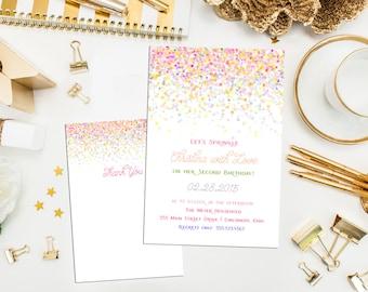 Confetti Birthday Invitation, thank you & print. Confetti Baby Shower Sprinkle Invitation. Sprinkle Birthday Invite. Sprinkle Shower.