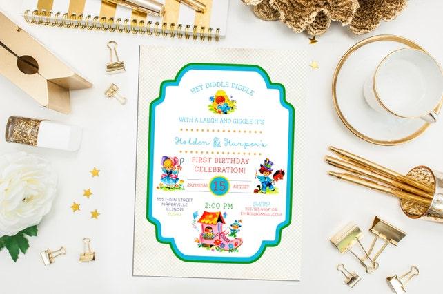 Nursery Rhyme Birthday Invitation Thank You Print Printable Story Book Invite Shower