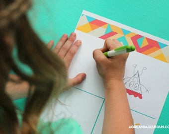 What do you see?  Kid's doodle drawing printable