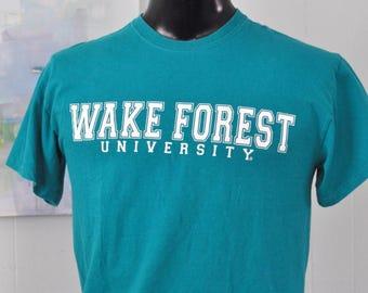 Wake Forest Tee College University Vintage Teal Blue GreenTShirt Aqua MEDIUM