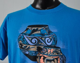 Cool Vintage Tshirt Indian Native American Tee Nature Tribal 80s 90s Neon Blue Teal Aqua LARGE